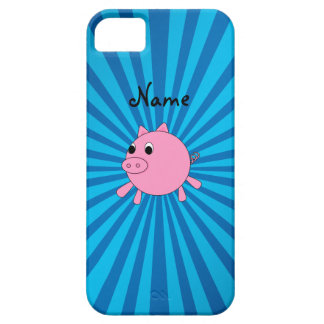 Personalized name pink pig blue sunburst iPhone 5 covers