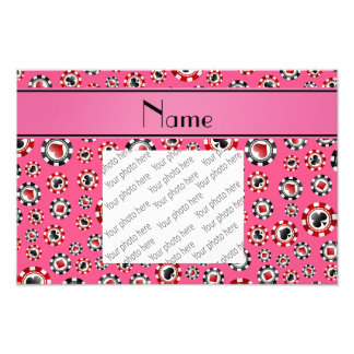 Personalized name pink poker chips photo print