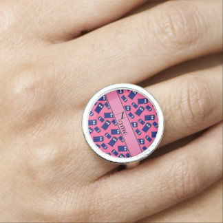 Personalized name pink police box photo rings