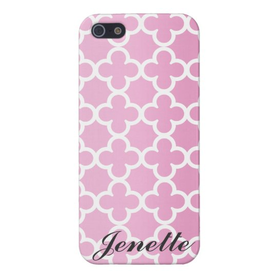 Personalized Name Pink Quatrefoil Pattern iPhone 5/5S Case