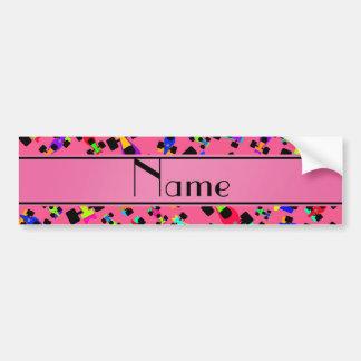 Personalized name pink race car pattern bumper sticker