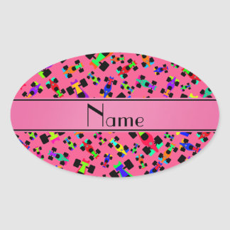 Personalized name pink race car pattern oval sticker