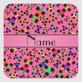 Personalized name pink race car pattern square sticker