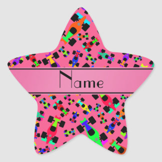 Personalized name pink race car pattern star sticker