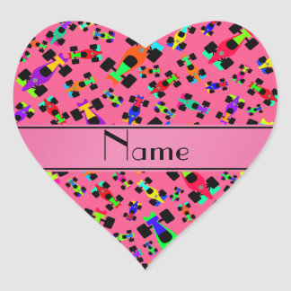Personalized name pink race car pattern heart sticker