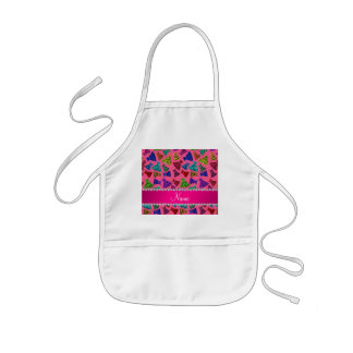 Personalized name pink rainbow leopard dresses kids apron