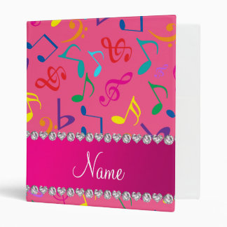 Personalized name pink rainbow music notes 3 ring binders