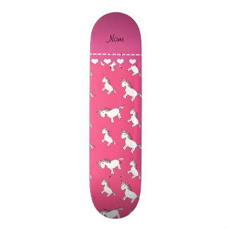 Personalized name pink rainbow unicorns skateboards