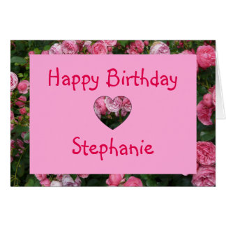 Personalized Name Pink Rose Birthday Card