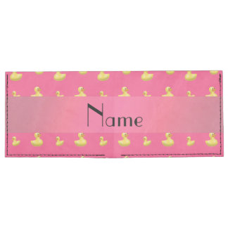 Personalized name pink rubber duck pattern billfold wallet