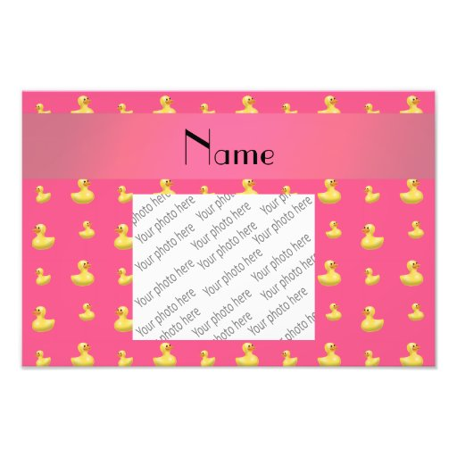 Personalized name pink rubber duck pattern photograph