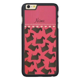 Personalized name pink scottish terrier dogs carved maple iPhone 6 plus case