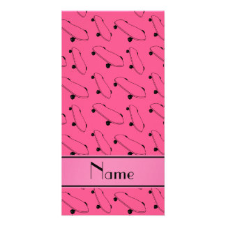 Personalized name pink skateboard pattern photo card