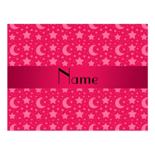Personalized name pink stars and moons postcard