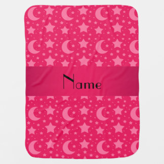 Personalized name pink stars and moons swaddle blankets