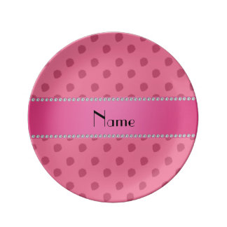 Personalized name pink strawberries pattern porcelain plate