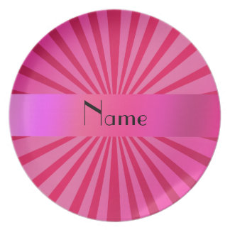 Personalized name pink sunburst plate