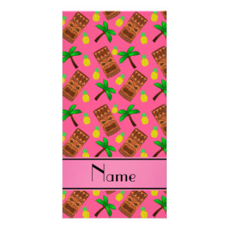 Personalized name pink tiki pineapples palm trees photo card