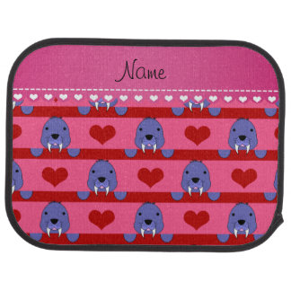 Personalized name pink walrus red hearts stripes car liners