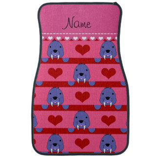 Personalized name pink walrus red hearts stripes car mat
