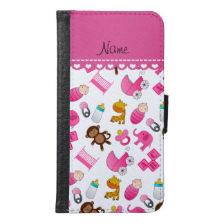 Personalized name pink white baby animals