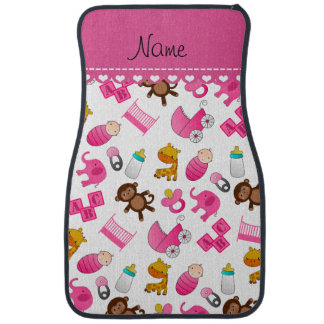 Personalized name pink white baby animals car floor carpet