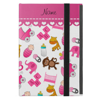 Personalized name pink white baby animals cases for iPad mini
