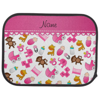 Personalized name pink white baby animals floor mat