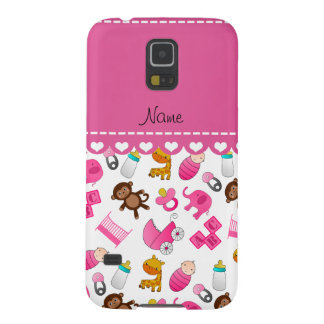 Personalized name pink white baby animals galaxy s5 covers