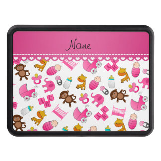 Personalized name pink white baby animals hitch cover