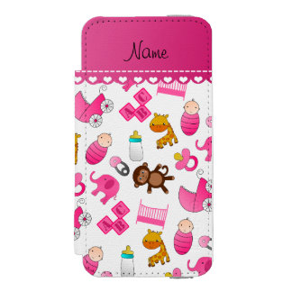 Personalized name pink white baby animals incipio watson™ iPhone 5 wallet case