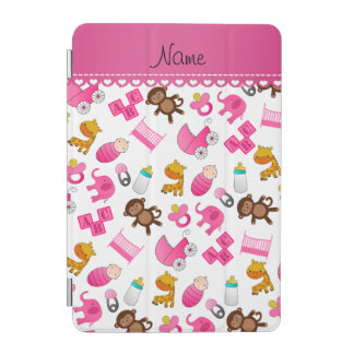 Personalized name pink white baby animals iPad mini cover