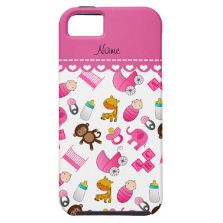 Personalized name pink white baby animals iPhone 5 cover