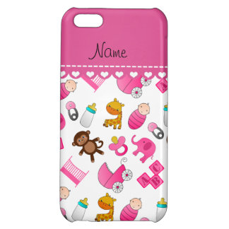 Personalized name pink white baby animals iPhone 5C covers
