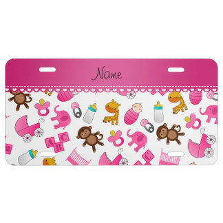 Personalized name pink white baby animals license plate
