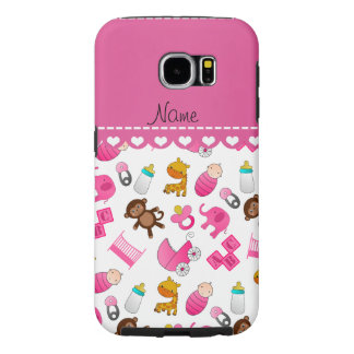 Personalized name pink white baby animals samsung galaxy s6 cases