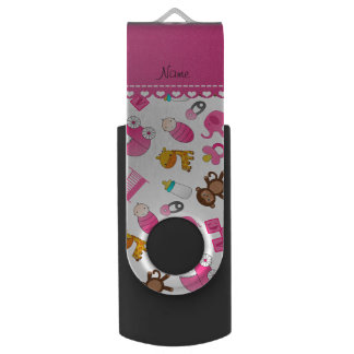 Personalized name pink white baby animals swivel USB 2.0 flash drive