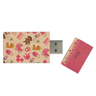 Personalized name pink white baby animals wood USB 2.0 flash drive