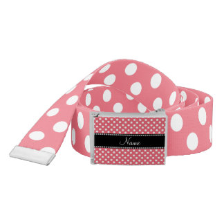Personalized name pink white polka dots small belt