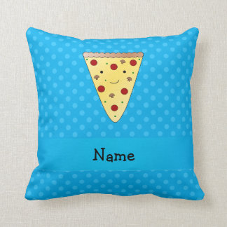 Personalized name pizza blue polka dots throw pillow
