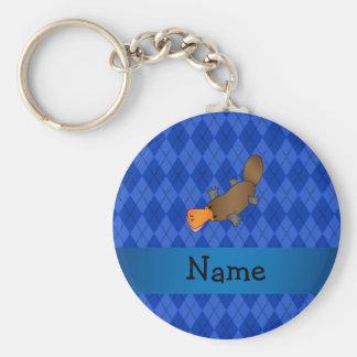 Personalized name platypus blue argyle keychain