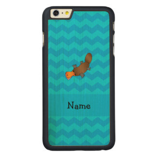 Personalized name platypus blue chevrons carved maple iPhone 6 plus case