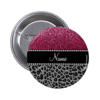 Personalized name plum glitter black leopard 2 inch round button