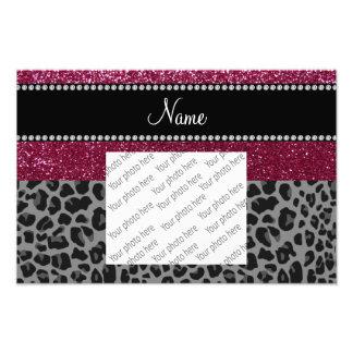 Personalized name plum glitter black leopard photo print