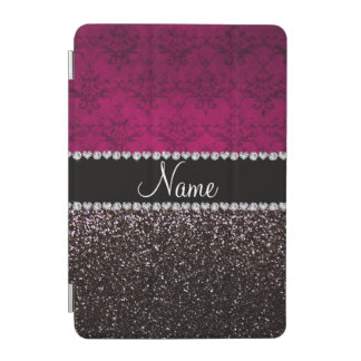 Personalized name plum pink damask black glitter iPad mini cover