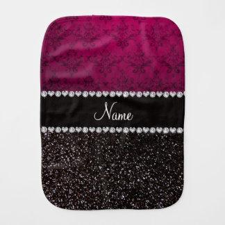 Personalized name plum pink damask black glitter baby burp cloths