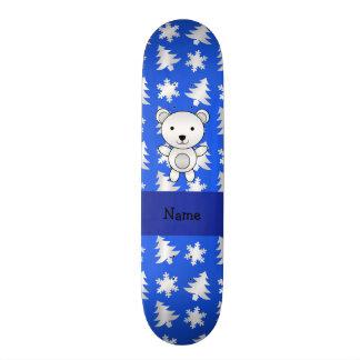 Personalized name polar bear blue snowflakes skateboard deck
