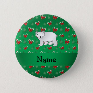Personalized name polar bear green candy canes bow 2 inch round button