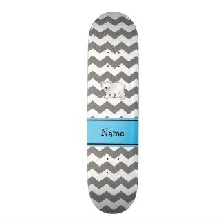 Personalized name polar bear grey white chevrons skate board deck