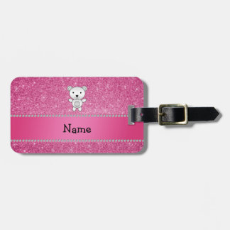 Personalized name polar bear pink glitter luggage tag